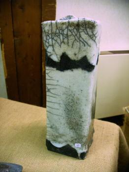 Vase raku émaillé et enfumé